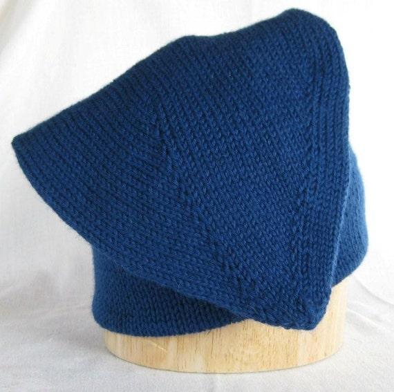 Voyageur Cap Handknit In Blue Wool 20 Inch Free Us