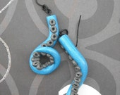 Blue and Grey Tentacle Polymer Clay Earrings