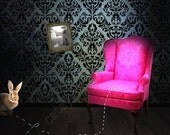 We're Watching You, Dear Bunny. Grungy Damask walls contrast with Pink Queen Anne Chair - Ready to Hang Gallery Block
