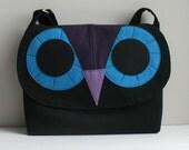 Owl messenger bag -black denim