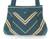 Vegan Shoulder bag - Fabric  handbag in green and khaki,handmade purse
