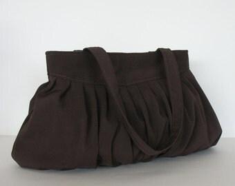 Brown handbag ,Pleated handag ,non leather large handmade purse in brown , pleated tote bag , fabric handbag , brown purse,shop Canada