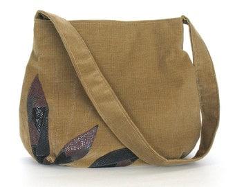 Corduroy hobo bag ,hobo purse , shoulder strap bag , teacher bag , casual handbag , hobo purse , embroidered purse , women shoulder purse