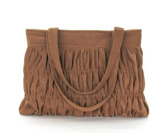 Fabric handbag in saddle color , handmade vegan purse , gathered shoulder bag , tote ,handbag purse , top handle fabric bag , day bag