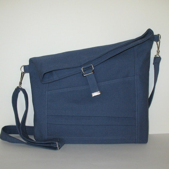 Foldover bag - cross body bag for college - handmade fold over cotton bag