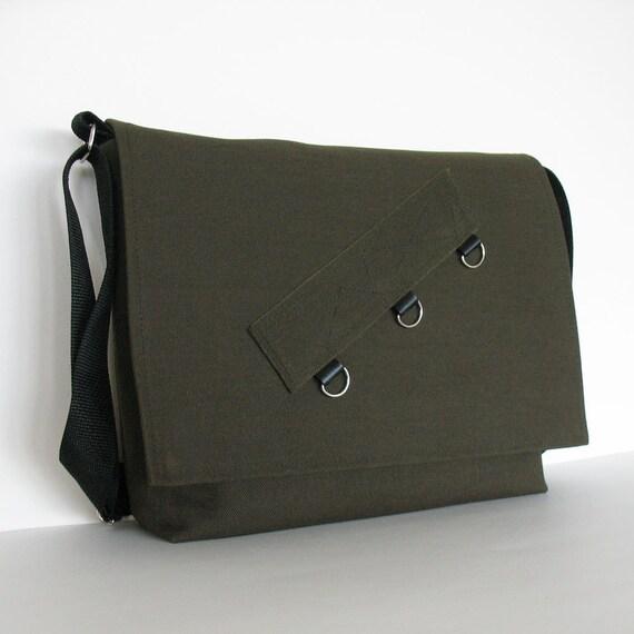large messenger bag-Denim school bag in dark green - vegan and handmade cross body bag for men and women