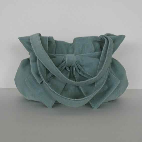 cute bow bag vegan corduroy handbag bag with bow sisoi