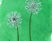 Sea Green Wishes -Original ACEO Mixed Media Painting