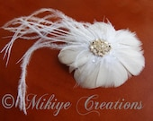 Wedding Hair PIece, Wedding Accessories,  Bridal Hair Feather Fascinator, Headpiece, Hair Clip  - Succulent