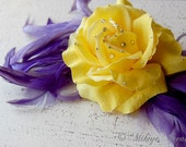 SALE - Vintage Inspired Hair Flower - Hair Clip - Floral Feather Head Piece - Iris Treasure