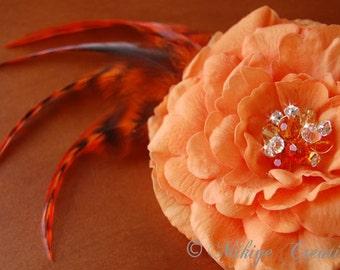 Rustic Wedding Orange Floral Hair Clip,  Autumn Feather Fascinator, Bridesmaid Fascinator, Flower Head Piece -  Tantalizing Tangerine