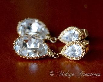 Wedding Earrings, Bridal Jewelry, Wedding Accessories,  Bridal Chandelier Swarovski Crystal Cubic Zirconia Drop Earrings - Golden Dani