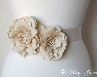 Wedding Hair Flowers, Retro Hair Flowers, Sash Flowers, Bridal Hair Flowers or Sash Taupe And Pearls