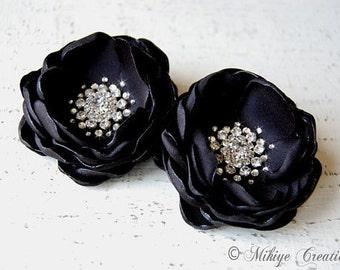Wedding Black Hair Flowers, Black Flower Clips, Wedding Hair Piece, Black Shoe Clips, Sash Accessory -  2 Piece Set - Midnight  Petals