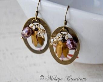 Vintage Inspired Plum Earrings, Jewelry Gift, Pretty Plum Vintage Inspired Earrings, Pearl Earrings, Brass Earrings