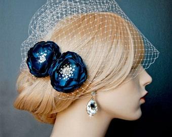 Wedding Bridesmaid Hair Flower,  Shoe Clips, Teal Sash Accessory,  2 Piece Set Peacock Teal Petals