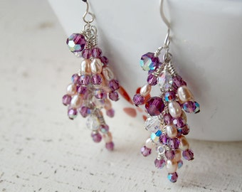 Wedding Pearl Earrings, Pearl Earrings, Freshwater Rice Pearl Chandelier Earrings - Pink Grapes