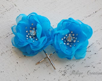 Bridesmaid Hair Flowers - Flower Girl -  Wedding Bridal Mini Turquoise Hair Flower Bobby Pins - Christie in Aqua Turquoise