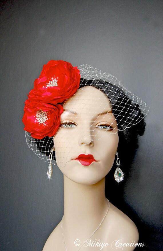 Valentine's Day Bridal Floral 2 Piece Hair Piece - Wedding Accessory - Wedding Hair Flowers - Brooch  - Sash Accessories -  Ravishing Red