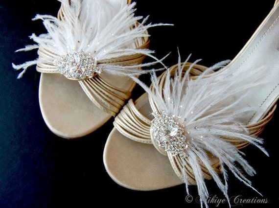 Bridal Shoe Clips, Wedding Shoe Clips, Bridal Accessories, Wedding Accessories - Fluttering Deco