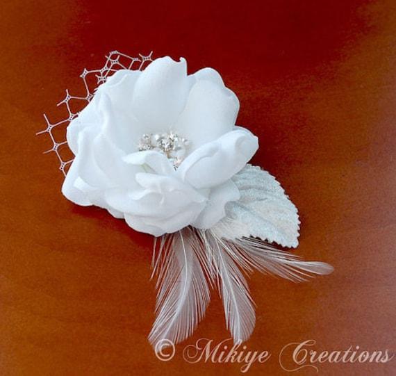 Wedding Hair Clip,  Bridal Hair Flower, Feather Head Piece, Wedding Hair Accessory - Petite Lillian
