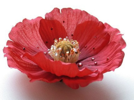 Valentine's Day Red Hair Clip, Red Poppy, Passion Flower Hair Accessories, Flower For Hair, Flower Clip - Clearance
