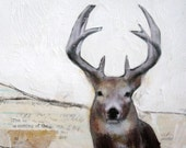 mixed media acrylic deer painting on canvas Murray ebsq
