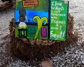 LARGE RhondaK Florida Folk Artist Original Mermaid at the Bar sign with MORE signs lots of fun