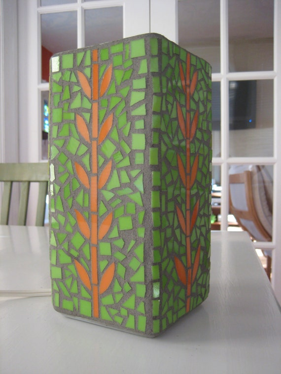 Handmade Mosaic Glass Tabletop Lamp with Green and Orange Orla Design