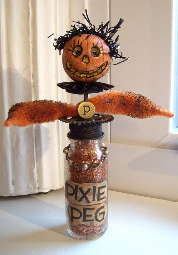 Halloween PIXIE PEG FoLk ArT Vintage Assemblage OOAK