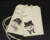 Rustic Snowmen, holiday gift tags, set of 8