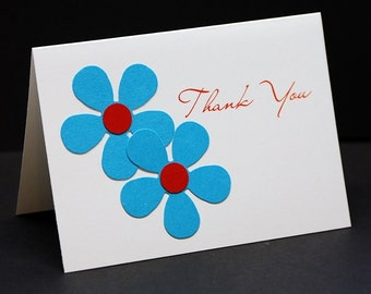 Wedding Thank You cards, whimsical flower punches