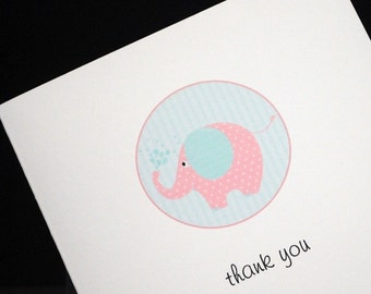 Pink Elephant thank you greeting cards, set of 10