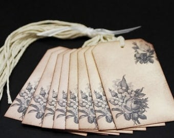 Vintage Victorian Roses, gift tags, set of 8