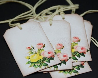 Pink And Yellow Victorian Rose Bouquet, gift hang tags, set of 8