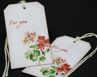 For You, burgundy floral bouquet, gift hang tags, set of 8