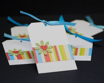 Stripes And Flowers gift tags, set of 6