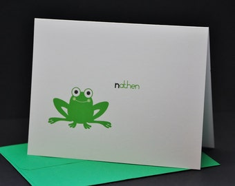 Happy Green Frog, personalized or customized note cards, set of 6