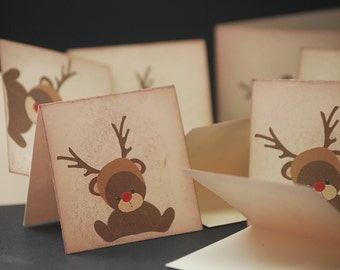 Teddy Bear Reindeer, mini Christmas folded notes, set of 8 small holiday enclosure cards