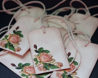 Corner Rose Bouquet, vintage floral gift tags, set of 8 hang tags