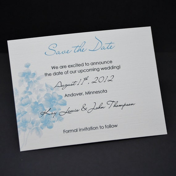 Watercolor Floral in Robin's Egg Blue, Save the Date card sample
