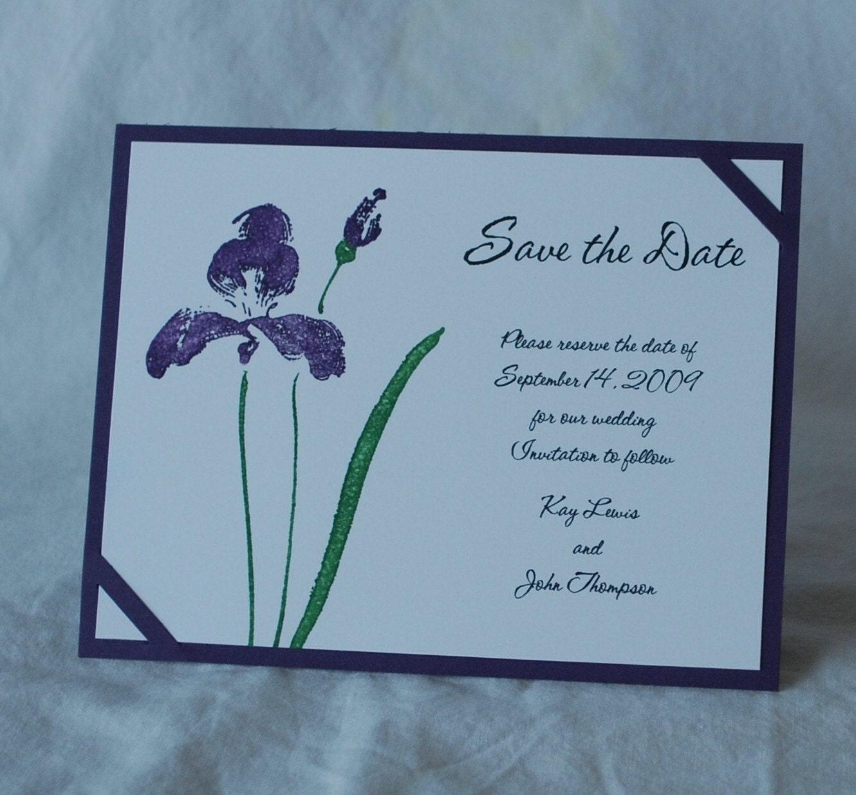 Save The Date card sample Purple Iris