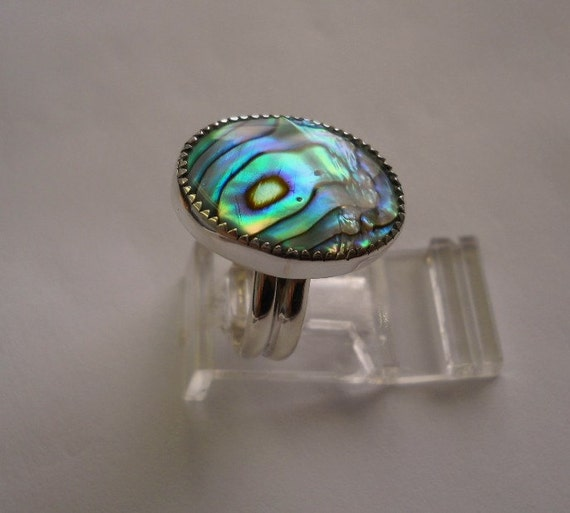 Abalone Paua Sterling Silver ring  FREE SHIPPING size 7 & 1/4 Choctaw Native American Indian made