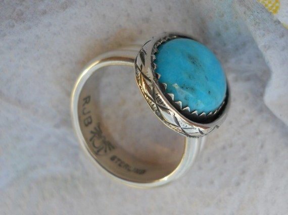 Native American jewelry ring sterling silver turquoise size 8.25 Choctaw American Indian made