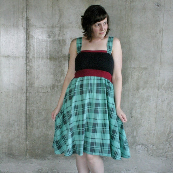 Freaking Hott Teal and Black Plaid Dress size 8\/10