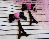 Black and Pink Eiffel Tower Earrings