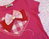SALE Hot Pink Heart Applique Tee Shirt