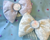 Lilac and Silver Hair Bow Set