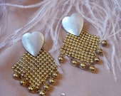 Silver and Gold Mesh Heart Earrings