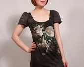 Black Howling Wolves Dress MADE TO ORDER